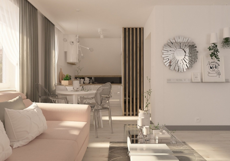 Kuchnia pod skosem otwarta na salon - Sieradz (4)