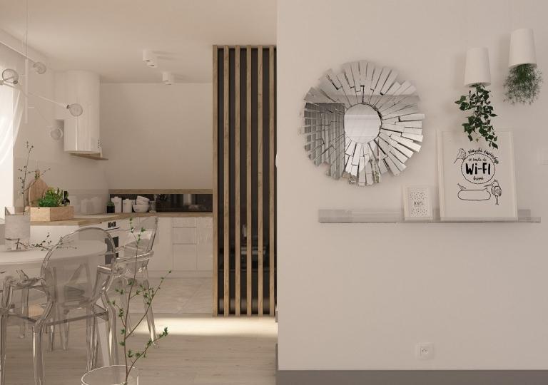 Kuchnia pod skosem otwarta na salon - Sieradz (5)