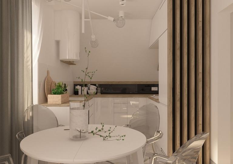 Kuchnia pod skosem otwarta na salon - Sieradz (6)