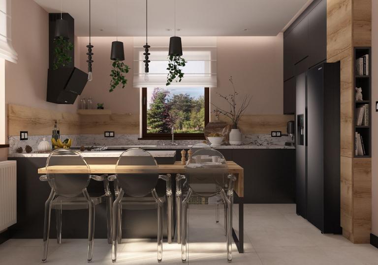 Projekt kuchni w dwóch wersjach kolorystycznych czerni i bieli